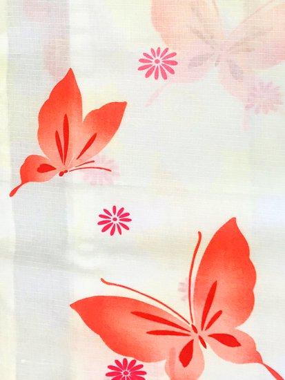 綿 新品の浴衣 ★★★★★ 【D/M/W】(68.5/163/49)蝶 【難あり新品】  単衣にも♪-1