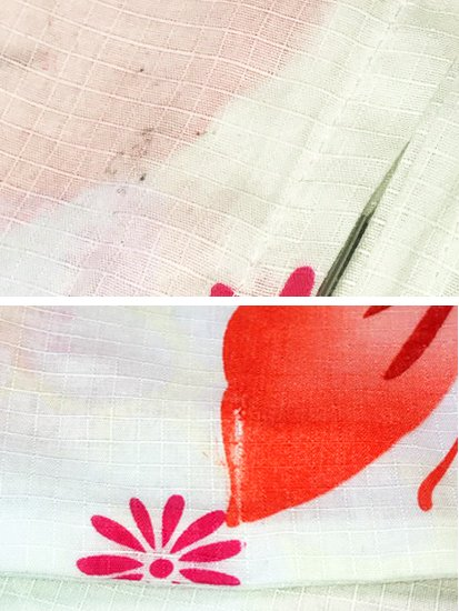 綿 新品の浴衣 ★★★★★ 【D/M/W】(68.5/163/49)蝶 【難あり新品】  単衣にも♪-