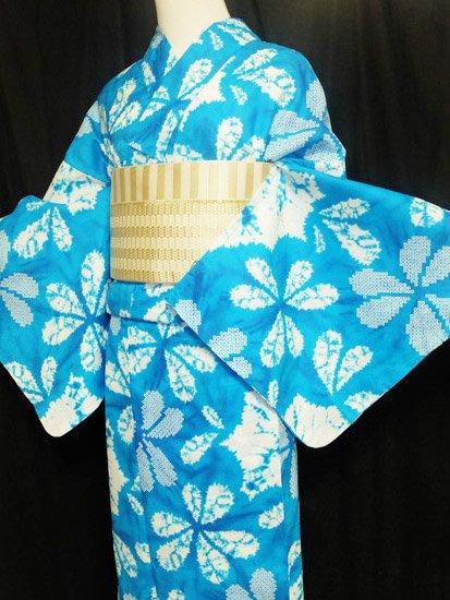 綿 新品の浴衣 ★★★★★ 【D/M/W】(70/164/49)片喰 絞り調 単衣にも♪-1