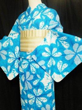 綿 新品の浴衣 ★★★★★ 【D/M/W】(70/164/49)片喰 絞り調
