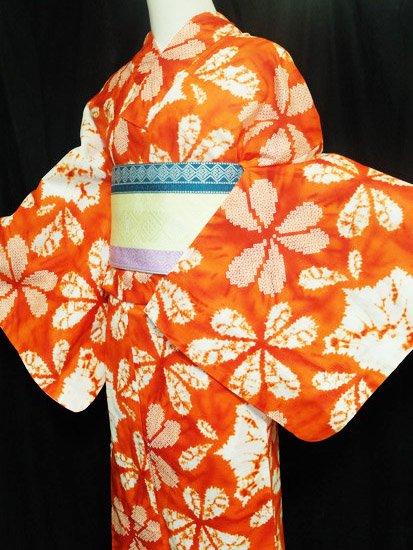 綿 新品の浴衣 ★★★★★ 【D/M】(70/163.5/49)片喰 絞り調-1
