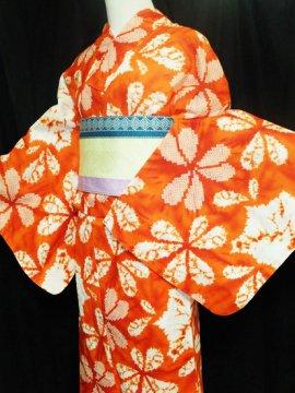 綿 新品の浴衣 ★★★★★ 【D/M】(70/163.5/49)片喰 絞り調