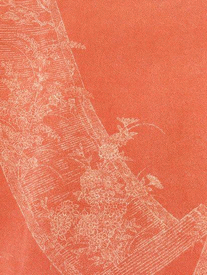 正絹 袷の江戸小紋(柄物) ★★★★ 【B/R】 (64.5/155/49) 巻物 植物紋 中古-