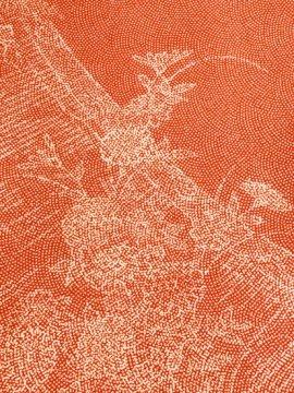 【割引対象】 正絹 袷の江戸小紋(柄物) ★★★★ 【B/R】 (64.5/155/49) 巻物 植物紋 中古