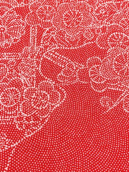 【割引対象】 正絹 袷の江戸小紋(柄物) ★★★★ 【C/R】 (66/155/49) 流水 四季花 割付紋 中古 【特選】-1