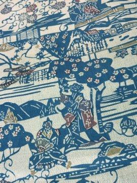 正絹 袷の小紋 ★★ 【B/R】 (64.5/154/45) 江戸の街並み 中古