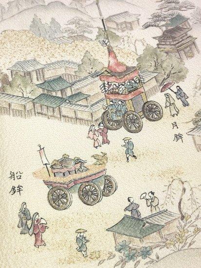正絹 袷の小紋 ★ 【D/R/W】 (67/157/48) 山鉾 中古-1