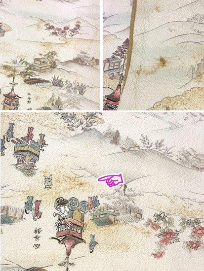 正絹 袷の小紋 ★ 【D/R/W】 (67/157/48) 山鉾 中古-