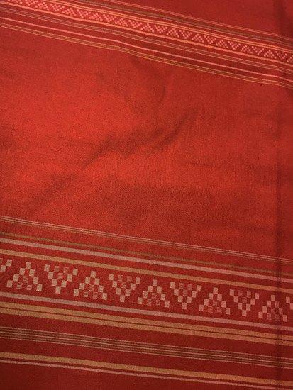 正絹 袷の紬 ★★★ 【C/L】 (65.5/166/46) 幾何学 横段縞 中古-1