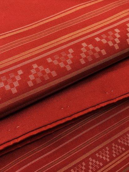正絹 袷の紬 ★★★ 【C/L】 (65.5/166/46) 幾何学 横段縞 中古-