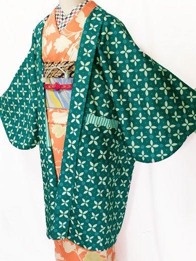 ふだんきもの杏オリジナル「杏コート」Lサイズ 【D/長丈】 (69/101/45) 七宝モチーフ-1