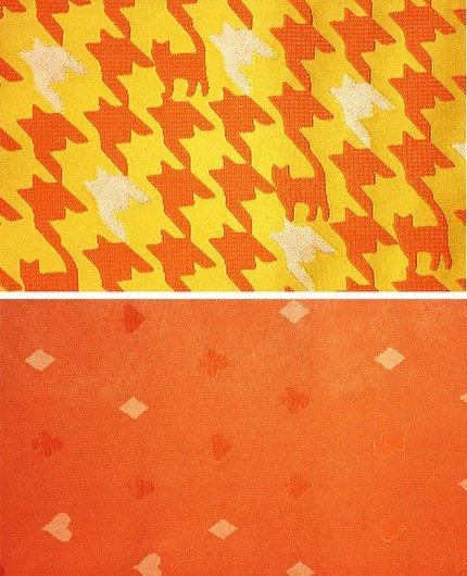 化繊 新品半幅帯 ★★★★★ 【長尺】 (16.5/400) 千鳥格子 猫 トランプ柄-