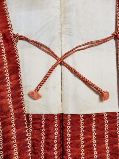 正絹 羽織 ★★ 【C】 (66.5/72/49.5)縞 絞り 中古-
