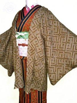 正絹 羽織 ★★★ 【B】 (63.5/74/44) 変わり格子 絞り 中古