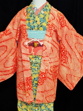 正絹 羽織 ★★★★ 【C】 (65/76/47)絞り 花 中古