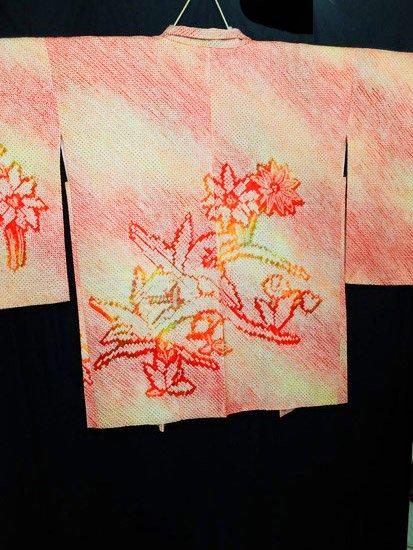正絹 羽織 ★★ 【C】 (66/83/80)植物紋 絞り 中古 【難あり未使用品】-