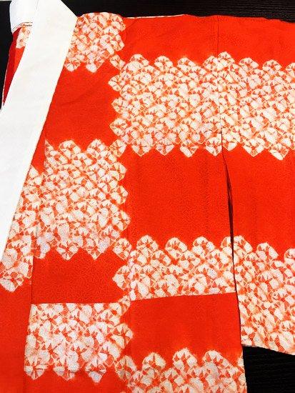 正絹 単仕立て無双袖の長襦袢 ★★★★ 【C】(65.5/125/48.5)絞り 石畳 中古-1