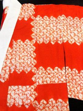 正絹 単仕立て無双袖の長襦袢 ★★★★ 【C】(65.5/125/48.5)絞り 石畳 中古