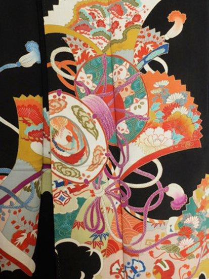 正絹 袷の黒留袖 ★ 【A/R】(61.5/154/49.5)鼓 扇 四季花 アンティーク-1