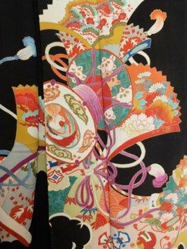 正絹 袷の黒留袖 ★ 【A/R】(61.5/154/49.5)鼓 扇 四季花 アンティーク