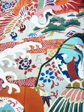 正絹 袷の黒留袖 ★★ 【B/R】(63/151.5/52)鶴 波 植物紋 アンティーク 五つ紋付き