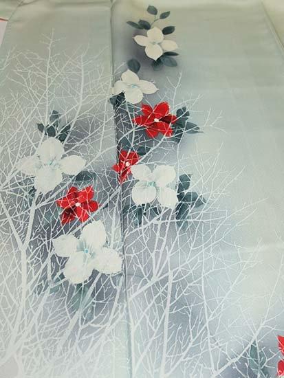 正絹 袷の付下げ訪問着 ★★★★ 【C/R】 (65.5/155/62) 植物紋 中古-1