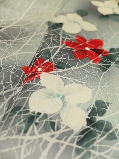 正絹 袷の付下げ訪問着 ★★★★ 【C/R】 (65.5/155/62) 植物紋 中古-
