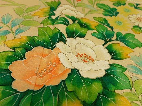 正絹 袷の付下げ訪問着 ★★ 【C/R】 (65.5/157/55.5) 牡丹 菊 桔梗 中古-