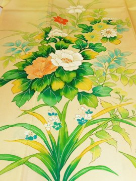 正絹 袷の付下げ訪問着 ★★ 【C/R】 (65.5/157/55.5) 牡丹 菊 桔梗 中古