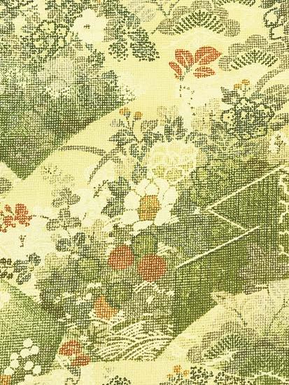 正絹 袷の小紋 ★★★★★ 【B/R】 (63.5/155.5/48.5) 地紙 四季花 衝立 【未使用品】-1