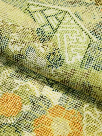 正絹 袷の小紋 ★★★★★ 【B/R】 (63.5/155.5/48.5) 地紙 四季花 衝立 【未使用品】-