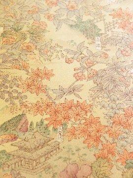 正絹 袷の小紋 ★★★★ 【C/R】 (65/156.5/49) 四季花 京都名所 中古