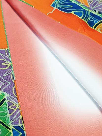 正絹 袷の小紋 ★★★★★ 【B/R】 (63.5/159/49.5) 短冊 植物紋 【未使用品】-