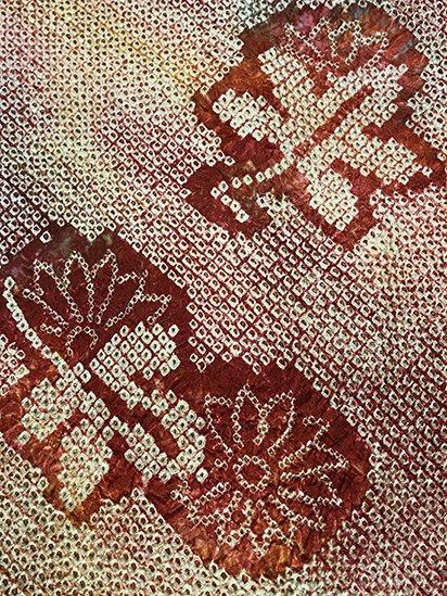 正絹 羽織 ★★★ 【B】 (64/76.5/48.5) 菊 絞り 中古 -1