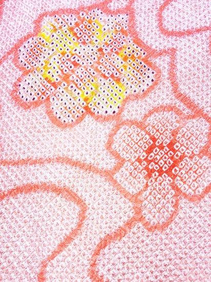 正絹 羽織 ★★★★★ 【B】 (64/74/51) 雲 花 【未使用品】-1