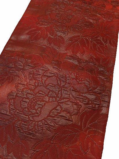 正絹 六通柄洒落袋帯 ★★★★ (30/400) 牡丹 漆箔 膨れ織り 中古-1