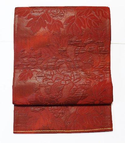 正絹 六通柄洒落袋帯 ★★★★ (30/400) 牡丹 漆箔 膨れ織り 中古-