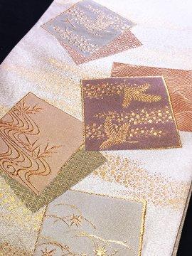 正絹 ポイント柄袋帯 ★ (31/444) 地紙 植物紋 綴織 中古