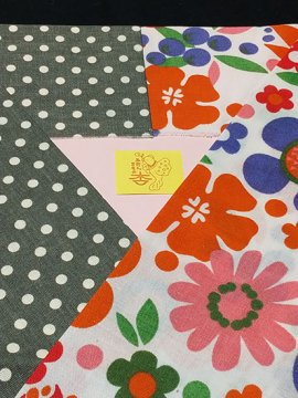 綿 カットクロスの半衿 片身替わり 花×ドット