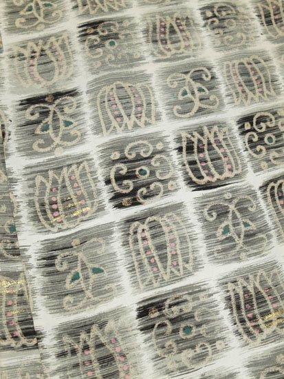 正絹 羽織 ★★ 【C】 (66/83/47) 格子 抽象柄 中古-1