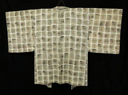 正絹 羽織 ★★ 【C】 (66/83/47) 格子 抽象柄 中古-