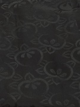 正絹 羽織 ★★ 【B】 (64/75/40.5) 黒無地 橘 一つ紋付 中古