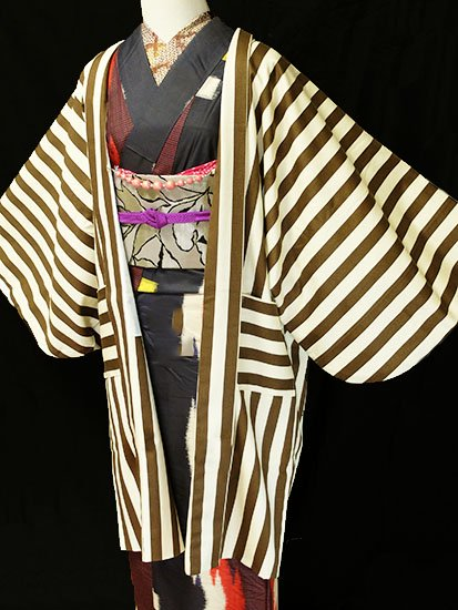 ふだんきもの杏オリジナル「杏コート」Mサイズ 【D/長丈】 (67/96/45) ストライプ-1