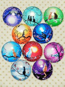 カボションガラスの帯留めパーツ ラウンドタイプ 【選べる金具】 【店主愛用品】