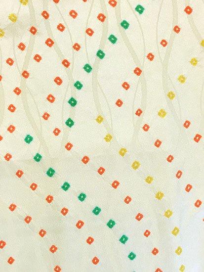 正絹 袷の小紋 ★★★ 【C/M】 (65/160/49) 絞り 立涌 中古-1