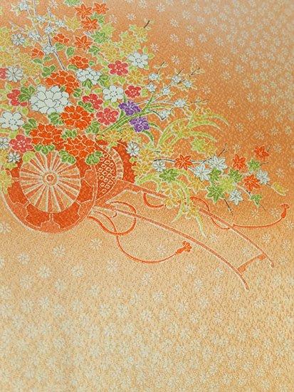 正絹 袷の小紋 ★★★ 【D/M】 (67.5/159/49) 花車 中古-1