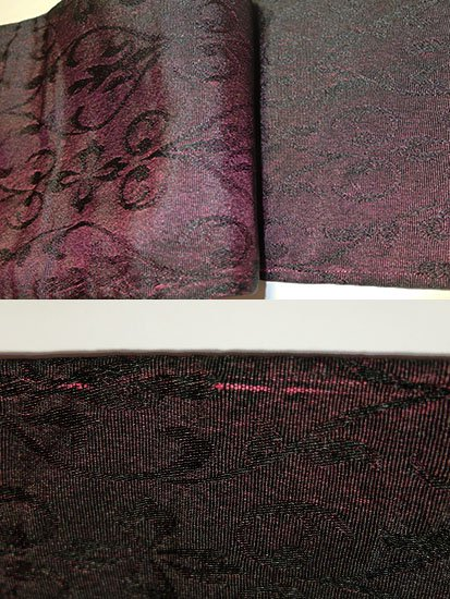 化繊 半幅帯 ★★★ 【長尺】 (16.5/400) バラ 植物紋 中古 -