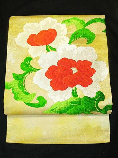 正絹 ポイント柄九寸名古屋帯 ★★★ 【標準】 (31/366) 植物紋 中古-