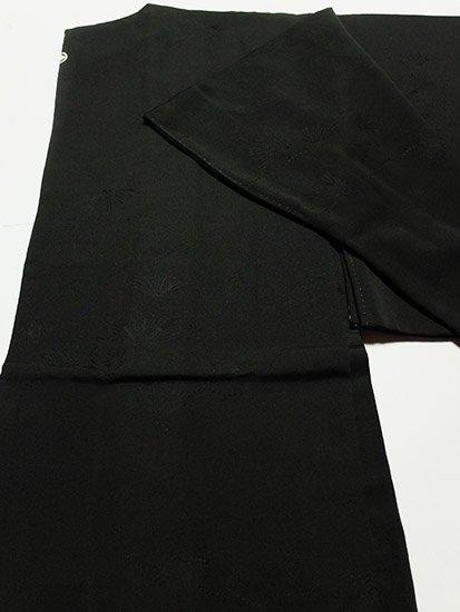 正絹 羽織 ★★★★ 【C】 (66/78/48.5) 黒無地 松葉 一つ紋付 中古-1