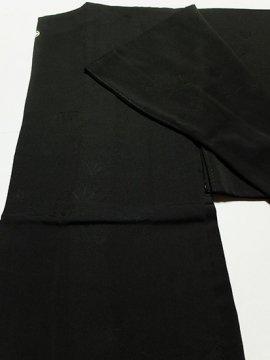 正絹 羽織 ★★★★ 【C】 (66/78/48.5) 黒無地 松葉 一つ紋付 中古